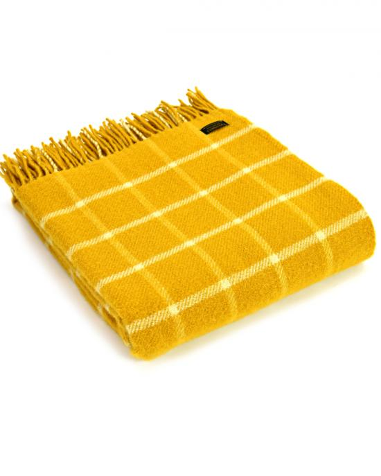 Chequered Check Mustard Yellow Throw
