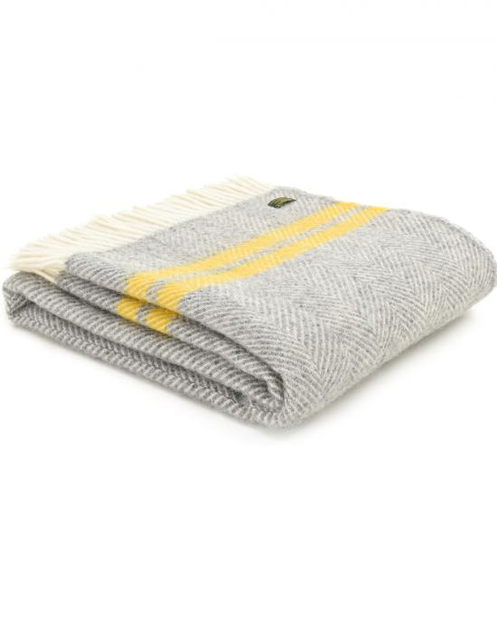 Fishbone Grey Throw with 2 Yellow Stripes