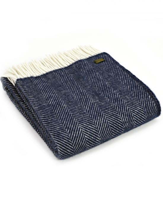 Fishbone Weave Navy Throw