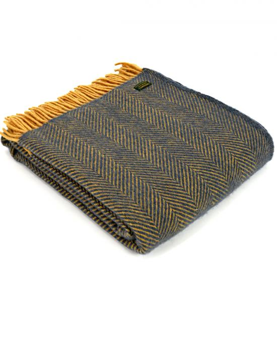 Herringbone weave Navy & Mustard throw
